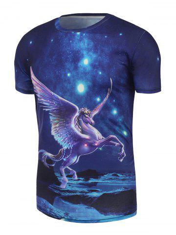 Fancy Pegasus Printed Galaxy Tee - M BLUE Mobile