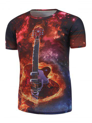 Unique Guitar Printed Galaxy Tee - XL RED Mobile