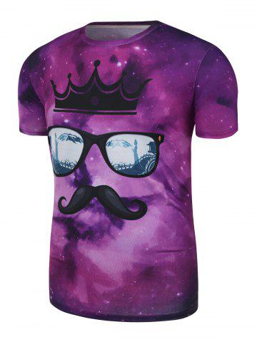 Latest Cartoon Printed Galaxy Tee - XL VIOLET Mobile
