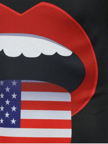 Outfit American Flag Mouth Printed Funny Tee - M BLACK Mobile