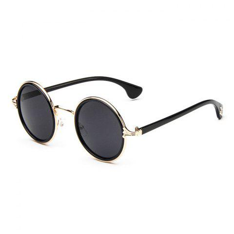 Fancy Gothic Cross Embellished Double Rims Round Sunglasses - BLACK AND GOLDEN  Mobile