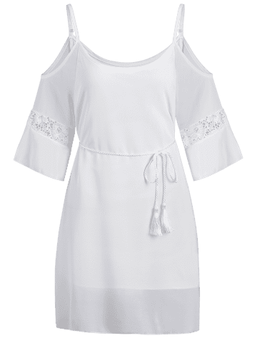 Affordable Cold Shoulder Rope Belt Slip Club Dress - M WHITE Mobile