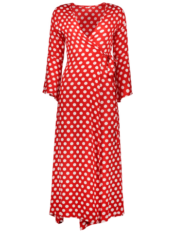 Chic Christmas Polka Dot Tea Length Wrap Dress - XL RED WITH WHITE Mobile