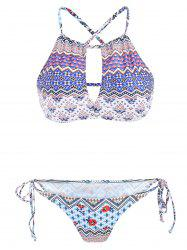 Stylish Color Block Print Cut Out Two-Piece Swimwear For Women - COLORMIX