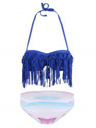 Fringe Ombre Underwire Strapless Two Piece Swimsuit