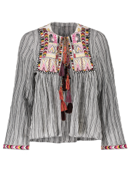 Front Tie Closure Embroidered Striped Blouse -