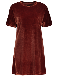 Shift Velvet Mini Shirt Dress