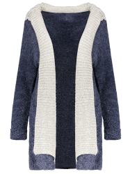 Hooded Faux Twinset Cardigan with Pocket