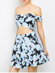 Off The Shoulder Cutout Floral Bandage Dresses