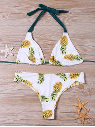 Pineapple Pattern Halter Neck Bikini Set