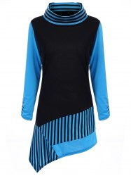 Cowl Neck Stripe Color Block Asymmetric Tee