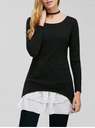 Long Sleeve Lace Trim Tunic Dress