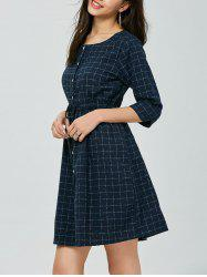 Elastic Waist Button Up Checked Dress