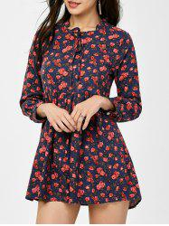Bowtie Floral Mini High Waist Dress