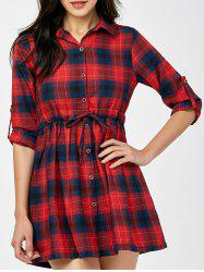 Drawstring Plaid Button Up Mini Checked Shirt Dress