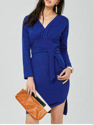 V Neck Backless Long Sleeve Pencil Dress - BLUE ONE SIZE