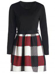 Women's Chic Long Sleeve Scoop Neck Plaid Dress