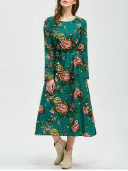 Tea Length Printed A Line Dress