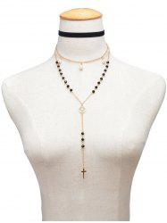 Faux Pearl Butterfly Crucifix Beaded Necklace