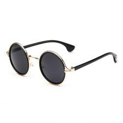 Gothic Cross Embellished Double Rims Round Sunglasses - BLACK AND GOLDEN