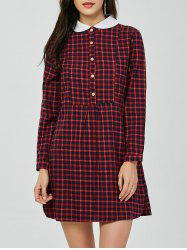 Peter Pan Collar Mini Plaid Dress