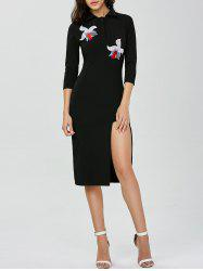 Polo Collar Floral Embroidered High Slit Dress