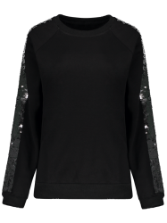 Sequins Sleeve Sweatshirt -