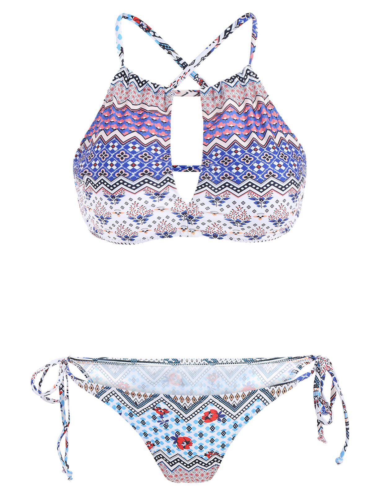 Best Stylish Color Block Print Cut Out Two-Piece Swimwear For Women