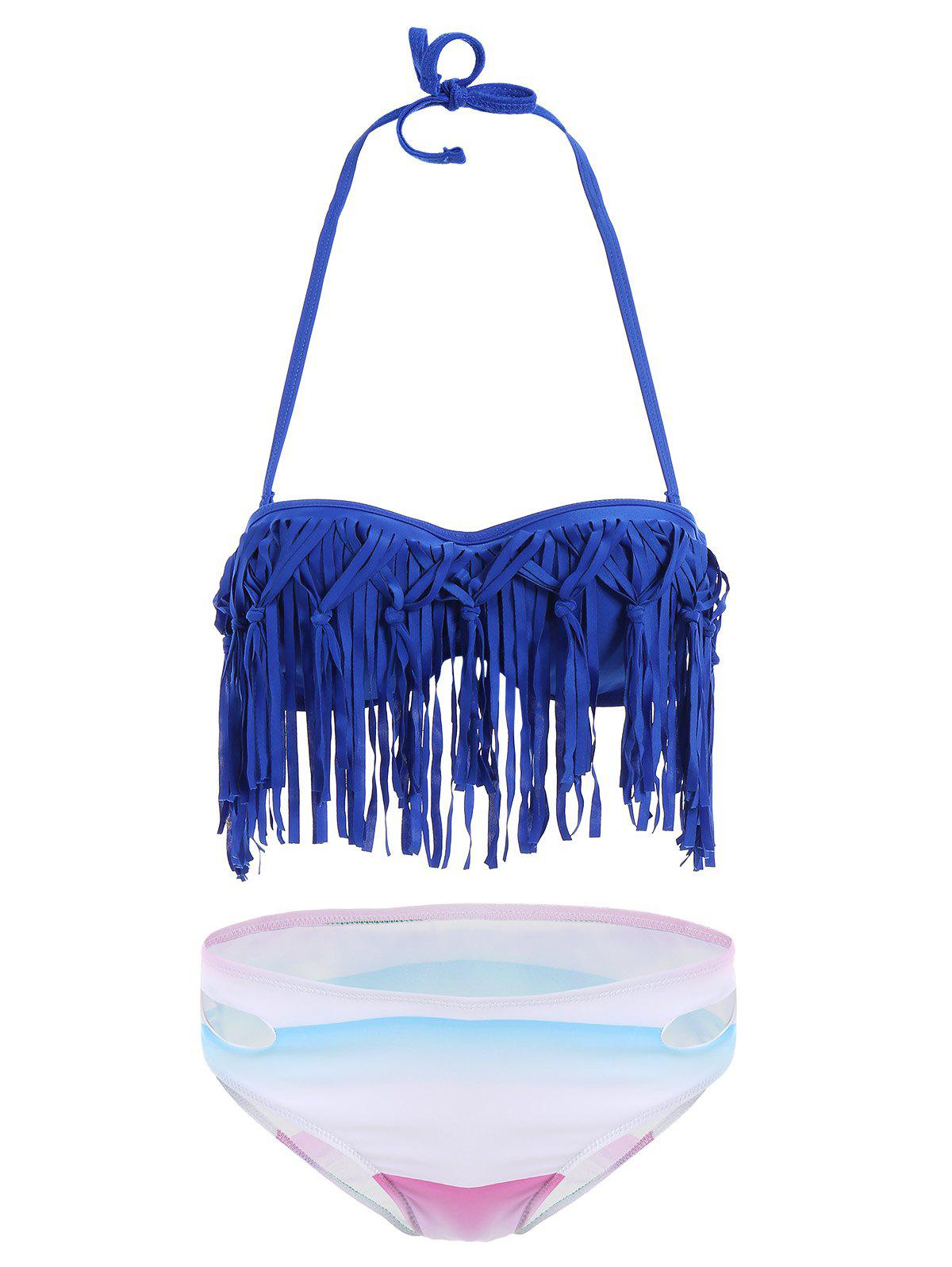 Shops Fringe Ombre Underwire Strapless Two Piece Swimsuit