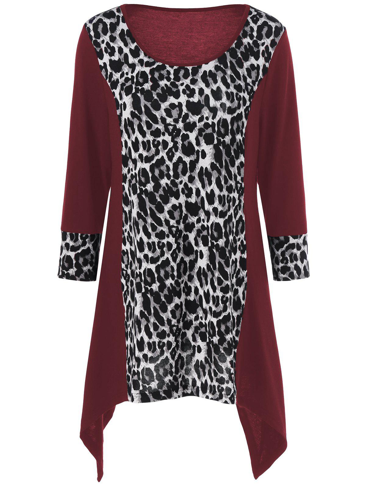 Leopard Print Plus Size Asymmetric T-ShirtWOMEN<br><br>Size: XL; Color: WINE RED; Material: Polyester,Spandex; Shirt Length: Long; Sleeve Length: Full; Collar: Scoop Neck; Style: Fashion; Season: Fall,Spring; Pattern Type: Leopard; Weight: 0.320kg; Package Contents: 1 x T-Shirt;