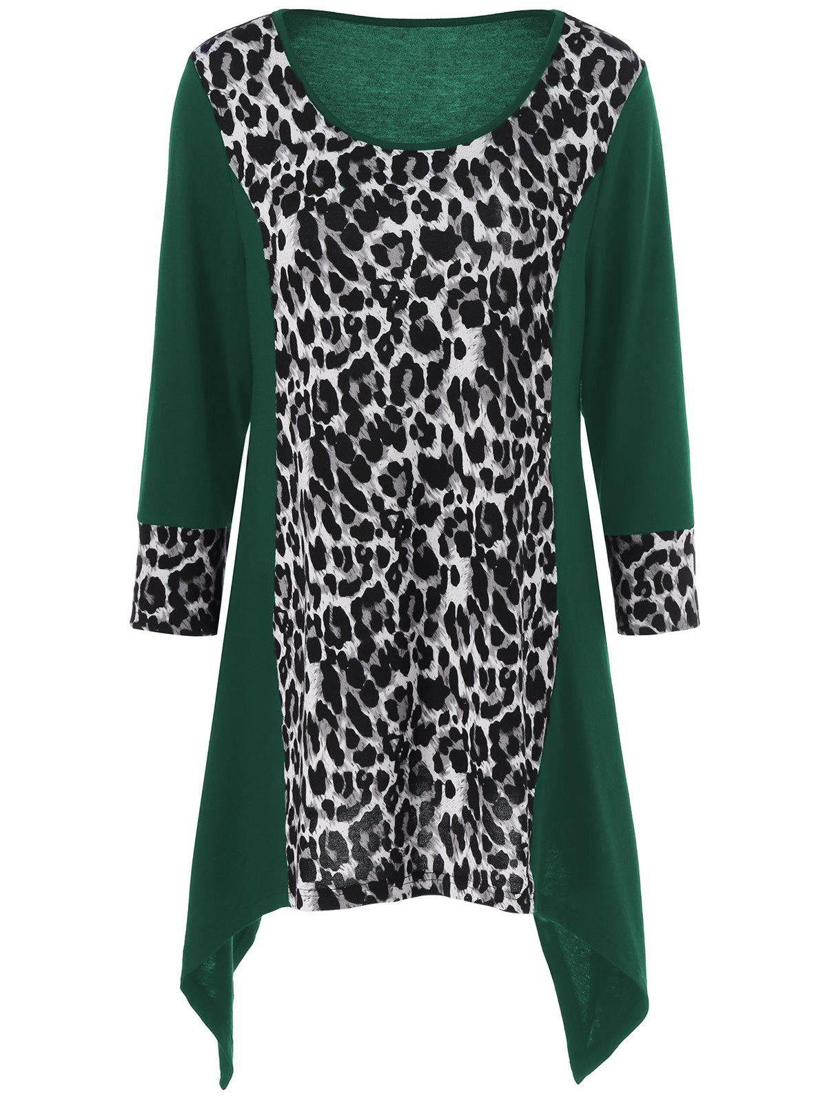 Leopard Print Plus Size Asymmetric T-ShirtWOMEN<br><br>Size: 2XL; Color: GREEN; Material: Polyester,Spandex; Shirt Length: Long; Sleeve Length: Full; Collar: Scoop Neck; Style: Fashion; Season: Fall,Spring; Pattern Type: Leopard; Weight: 0.320kg; Package Contents: 1 x T-Shirt;
