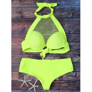 Halter Mesh Panel Sheer Bathing Suit