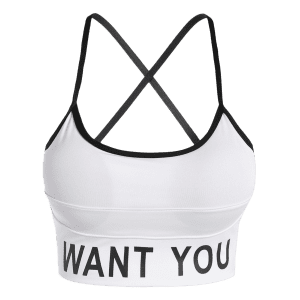 Slim Criss-Cross Padded Strappy Sports Yoga Bra - WHITE L