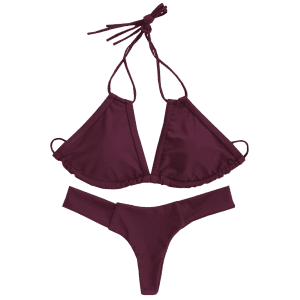 Attractive Halter Wine Red Bikini Set For Women -