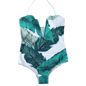 Printed Halter One Piece Swimsuit - WHITE AND GREEN XL