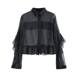 Ruffled Sheer Crop Shirt - BLACK 2XL