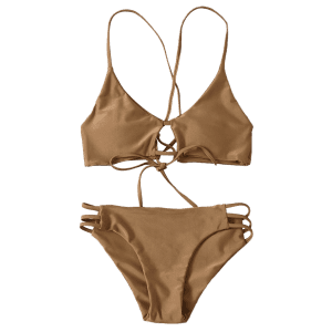 Lace-Up Cami Bikini Set -