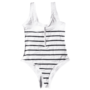Striped Zip Front One Piece Swimsuit - WHITE AND BLACK M