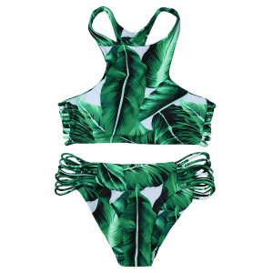 High Neck Leaf Print Racerback String Bikini Set - GREEN M