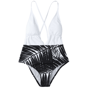 Low Cut Leaf Print Swimwear -