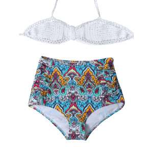 Printed High Waisted Crochet Multiway Bandeau Bikini - MULTICOLOR 2XL