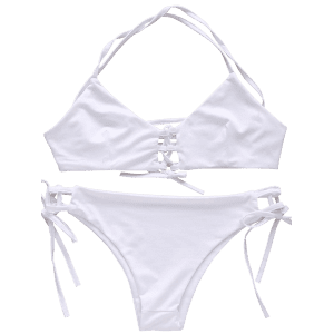 Spaghetti Strap Lace Up String Bathing Suit - WHITE M