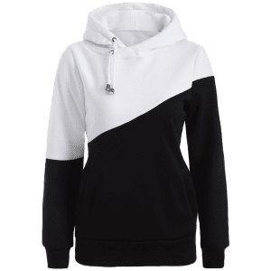 Color Block Casual Hoodie - WHITE AND BLACK XL