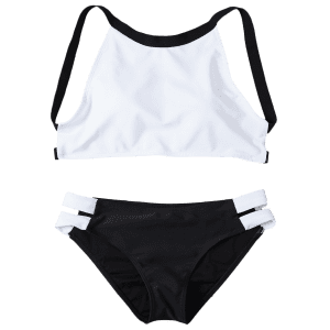 Cut Out High Neck 2 Piece Swimsuit -