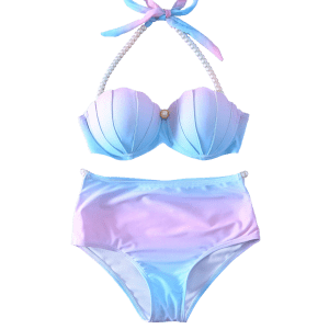 Halter Pearl Embellished Ombre Seashell Bikini Set - BLUE AND PINK XL