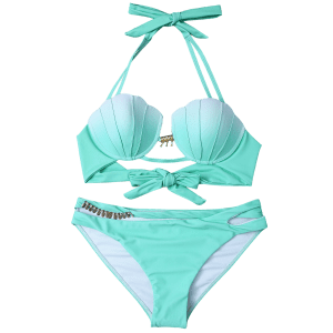 Underwire Mermaid Shell Bikini - GREEN L