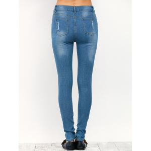 Midi Rise Distressed Pencil Jeans -