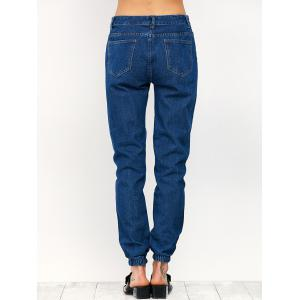 Ripped Pencil Jogger Jeans - BLUE M