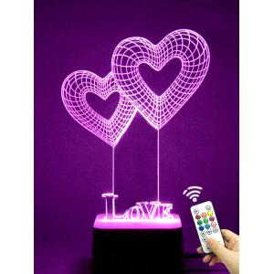 Colorful 3D Visual LED Heart Shape Touch Night Light With Remote Control - TRANSPARENT