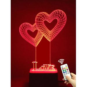 Colorful 3D Visual LED Heart Shape Touch Night Light With Remote Control